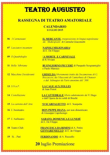 Cartellone VI edizione Rassegna Teatro Amatoriale del Teatro Augusteo