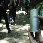 cartuccia di un colpo a frammentazione appartenente ad un lacrimogeno.