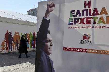 Un cartellone raffigurante Alexis Tsipras, leader di Syriza