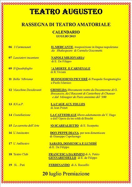 Cartellone della Rassegna di Teatro Amatoriale del Teatro Augusteo